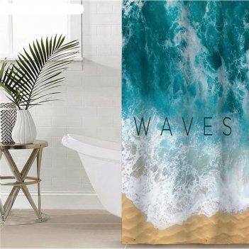 Штора для ванной этель waves 145 х 180 см, полиэстер