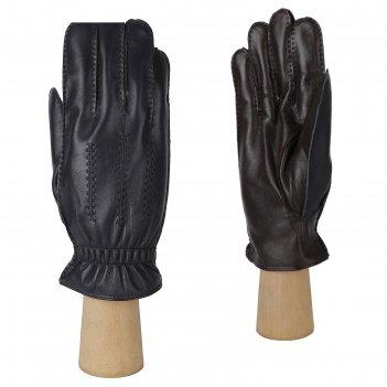 Перчатки мужские, натуральная кожа (размер 9.5) синий-коричневый