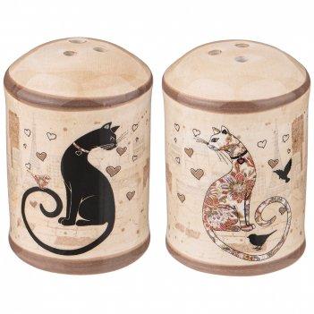 Набор для специй парижские коты 2 пр.  4,5*4,5 см. высота=6,5 см. (кор=60н