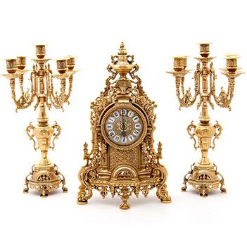 Каминные часы + 2 подсвечника из бронзы, высота=41 см