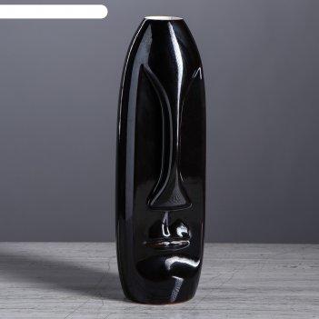 Ваза лицо средняя чёрный глянец вид 2