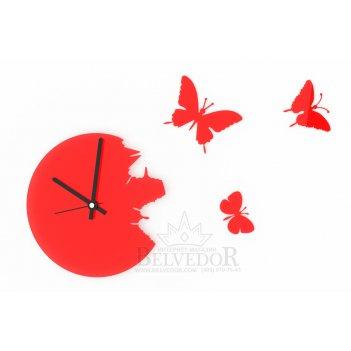 Настенные часы порхающие бабочки красные 28х28см