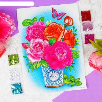 Аппликация пайетками с клеевым слоем цветы, 30x45 см