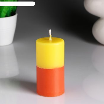 Свеча- цилиндр лимон- апельсин ароматическая, 5,2x9,5 см