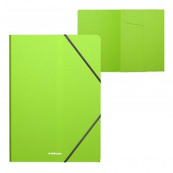 Папка на резинках а4 пластиковая erichkrause neon зеленая 47143