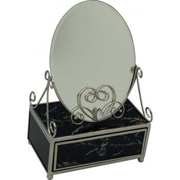 Зеркало со шкатулкой jardin dete мрамор, cталь/стекло, 13 х 21