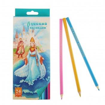Карандаши 24 цвета русский карандаш. сказки, шестигранные, длина 175мм, ok