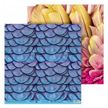 Бумага для скрапбукинга «перья», 30.5 x 32 см, 180 г/м