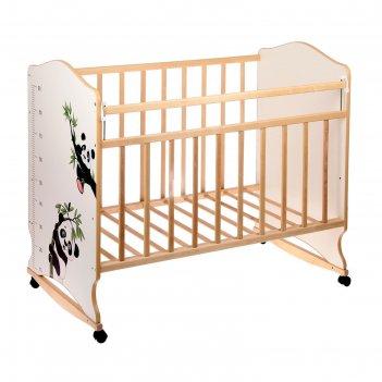 Детская кроватка «морозко. панды» с ростомером, на колёсах или качалке, цв