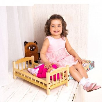 Классическая кроватка для кукол, текстиль бежевый