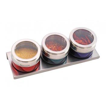 Набор для специй agness на магнитах+метал.подставка 4 предмета 20*6*5 см (