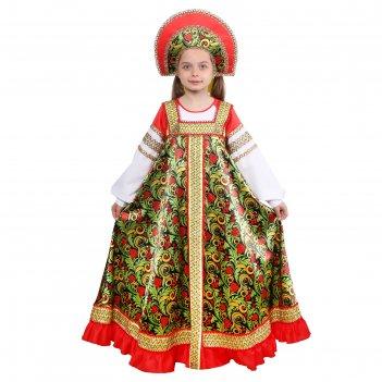 Русский народный костюм для девочкирябинушкаплатье длинное,кокошник,р-р32р