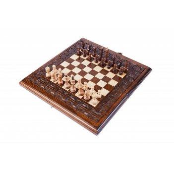 Шахматы + нарды резные армянский орнамент 30, haleyan
