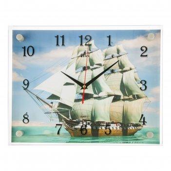Часы настенные прямоугольные корабль, 40х30 см