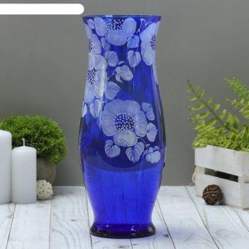 Ваза классик, синяя, цветочная