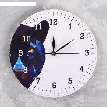 Часы настенные пантера, d=23.5. плавный ход, стрелки микс
