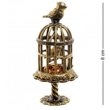 Am-1883 фигурка птички в клетке (латунь, янтарь)