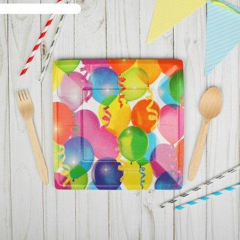 Тарелка бумажная квадратная шары, 21 см