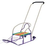 Санки кирюша-4вк с толкателем, с колесами, цвет: фиолетовый