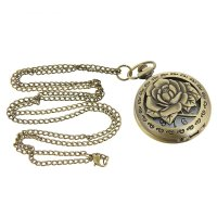 Карманные кварцевые часы «пышная роза», на цепочке 80 см