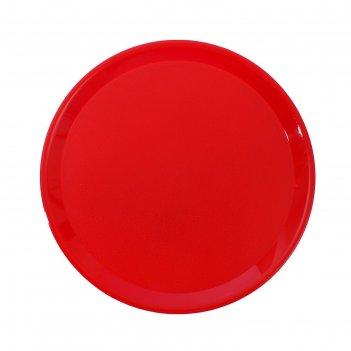 Поднос пластиковый круглый, красный