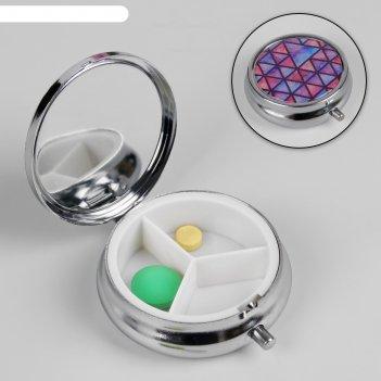 Таблетница треугольники, зеркальная поверхность, 3 секции, цвет серебристы