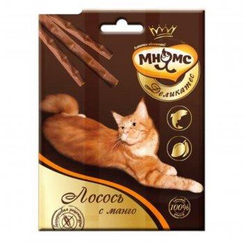 Деликатес лакомые палочки мнямс для кошек, с лососем и манго, 9 см, 3 х 4