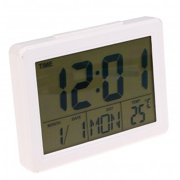 Электронные часы-будильник, подсветка на звук, бат 3ааа, день нед, темп-ра