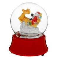 Сувенир снежный шар 16,5*12,5 см дед мороз на оленях