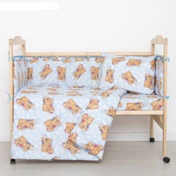 Комплект в кроватку спящие мишки (6 предметов), цвет голубой 615/1