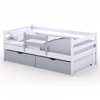 Кроватка viki, спальное место 140х80 см, цвет белый, борт серый,  + ящики