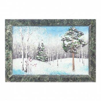 Картина зимний пейзаж рамка змеевик №1 (13х18 см)