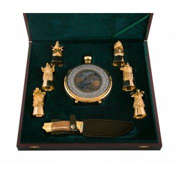 Набор охотничий утиная охота ( нож, фляга, 6 рюмок) златоуст