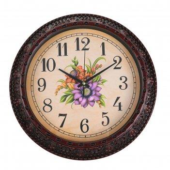 Часы настенные интерьерные изящный букет, круг, бордо, 30*5см