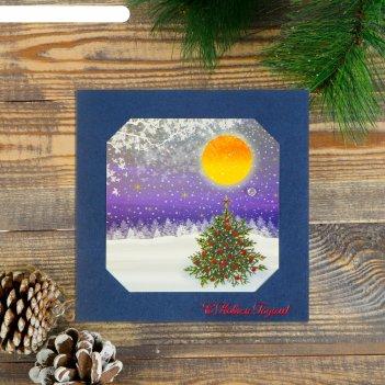 Открытка с новым годом! ручная работа, бархатный картон, зимний пейзаж