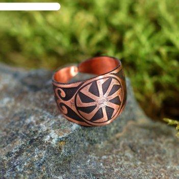 Кольцо-амулет «коловрат», пластинчатый, медь