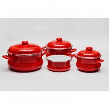 Набор посуды «рубин», 2.5/3.5/5.5 л + ковш 1.5 л в подарок