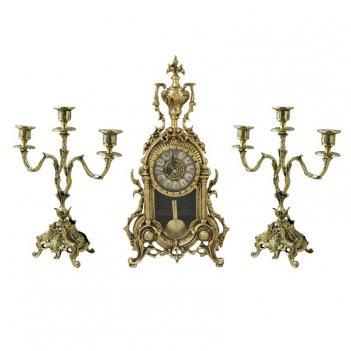 Часы антикварные каминные с канделябрами библо