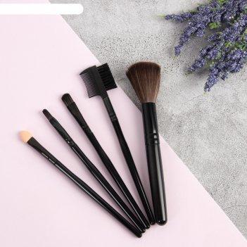 Набор кистей для макияжа, 5 предметов, пвх-пакет, цвет чёрный