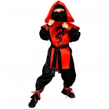 Карнавальный костюм ниндзя: чёрный дракон, р-р 32, рост 128 см, цвет красн