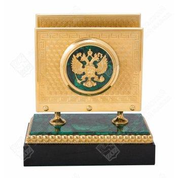 Визитница настольная герб рф из малахита  златоуст