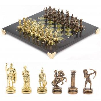 Шахматы лучники доска 280х280 мм змеевик металл