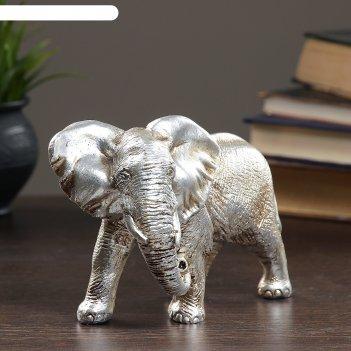 Фигура слон серебро 18х9х13см