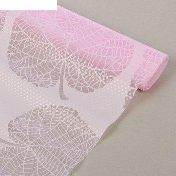 Коврик противоскользящий листья 45х100 см, цвет розовый