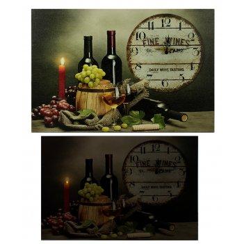 Часы настенные винный погребок с led подсветкой 60*40*2см