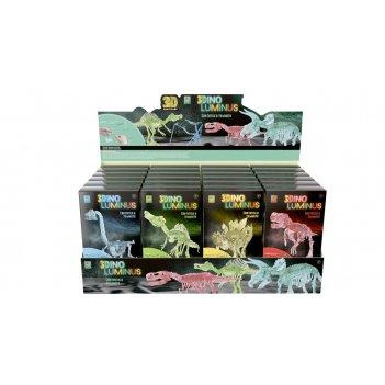 1toy 3dino luminus, люминисцентные динозавры, 6 видов, 24 шт дисплей бокс