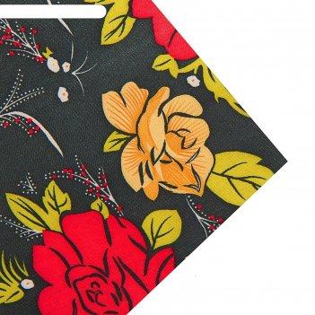 Ткань атлас красные цветы на черном, ширина 150 см