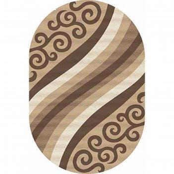Ковёр карвинг хит-сет mega carving d297, 1*3 м, овал, beige
