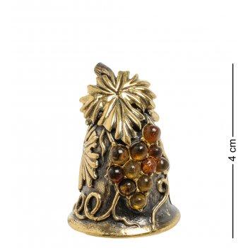 Am-1905 фигурка колокольчик-виноград (латунь, янтарь)