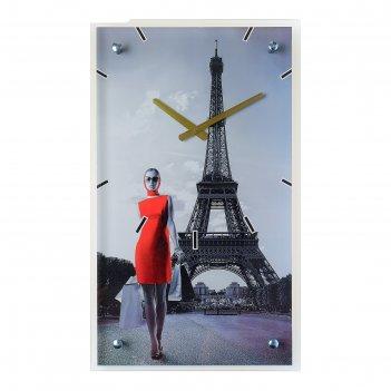 Часы настенные прямоугольные девушка в красном платье в париже, 35х60 см